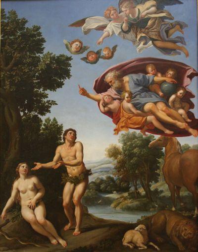 Dieu réprimandant Adam et Eve